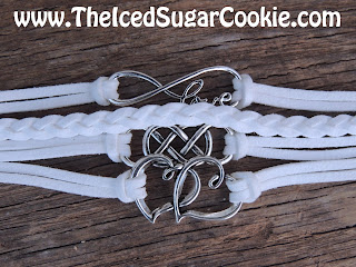 White Love Infinity Sign Hearts Leather Bracelet by The Iced Sugar Cookie