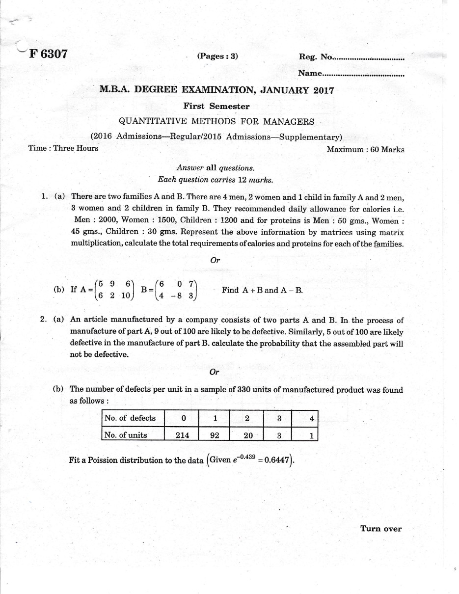 MARIAN LIBRARY: M G UNIVERSITY MBA 1st SEM (QUANTITATIVE METHODS FOR
