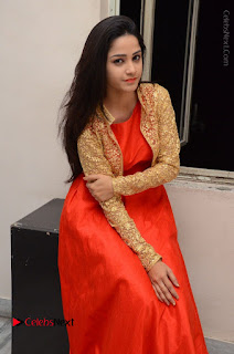 Telugu Actress Divya Nandini Stills in Orange Sleeveless Gown at Chennai Chaitrama Movie le Launch Event  0098.JPG