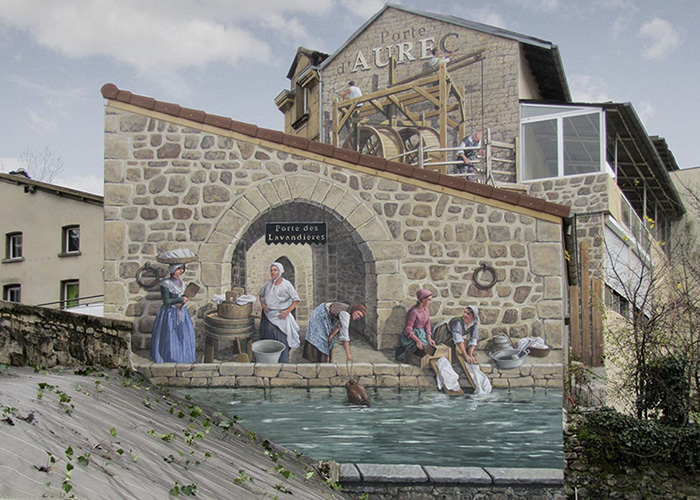 French Artist Transforms Boring City Walls Into Vibrant Scenes Full Of Life - Porte des Lavandières