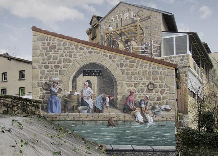 French Artist Transforms Boring City Walls Into Vibrant Scenes Full Of Life - Porte des Lavandières