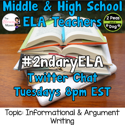 Join secondary English Language Arts teachers Tuesday evenings at 8 pm EST on Twitter. This week's chat will be about informational and argument writing.