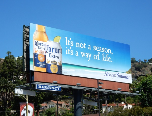 Corona Extra It's not a season it's a way of life billboard