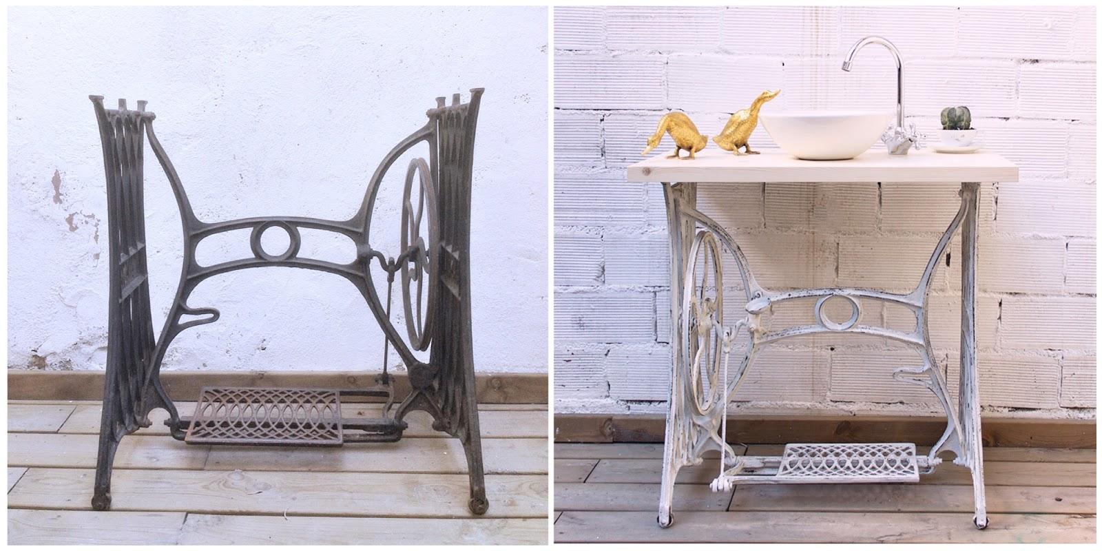 Antes y después - Pie de máquina de coser transformado en mueble baño