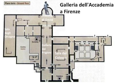 Mappa Galleria dell'Accademia a Firenze