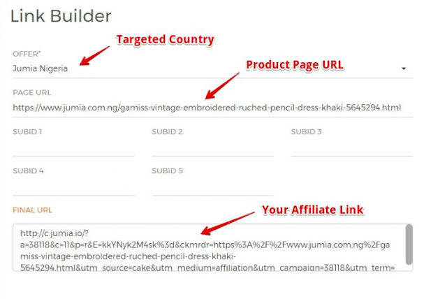 jumia affilitae link builder