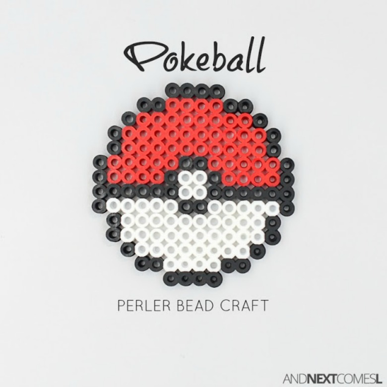Pokeball perler bead craft - Pokemon crafts for kids