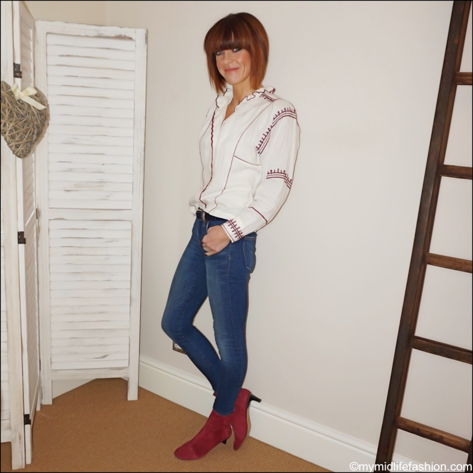 my midlife fashion, isabel marant etoile embroidered blouse, j crew toothpick jeans, isabel marant goat suede ankle boots