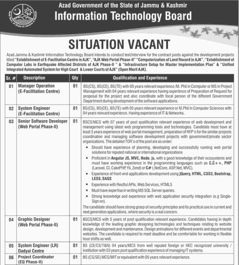 Advertisement for Information Technology Board Jobs