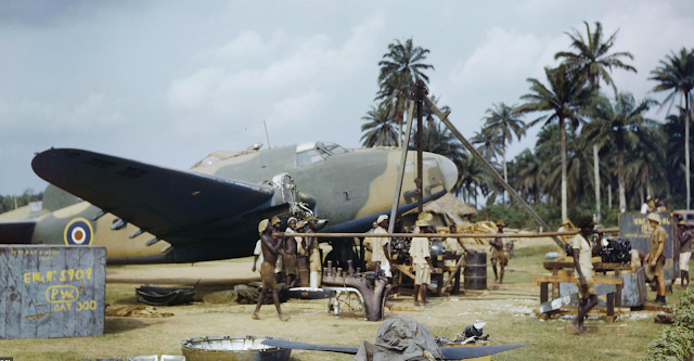 Lockheed Hudson at Yundum in Gambia color photos of World War II worldwartwo.filminspector.com