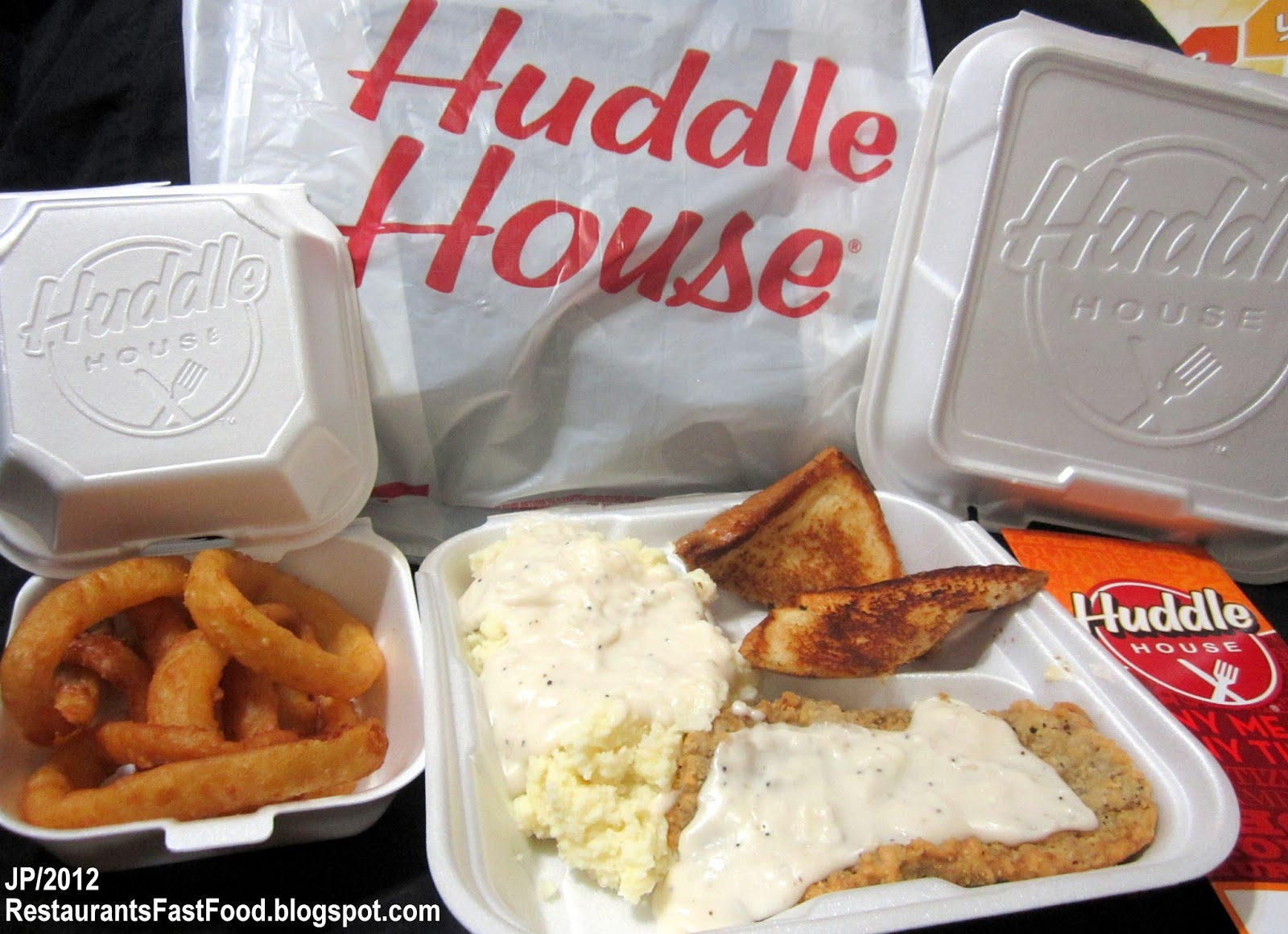 Huddle House Diner Restaurant Country Fried Steak Dinner To Go 1 Lb 11 Oz Mashed Potato Gravy Onion Rings Texas Toast Meal