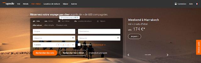 Page d'acceuil site web opodo avec fond d'écran désert du Sahara