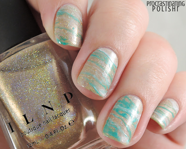 Stamped marble nail art