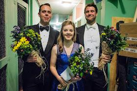 Top Prize winners at the Grange International Singing Competition, Samuel Sakker, Rowan Pierce, Bozidar Smiljanic (photo Robert Workman)