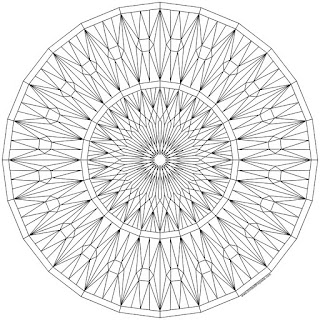 Facets mandala to print and color- available in jpg and transparent png formats. Click through! #coloringpage