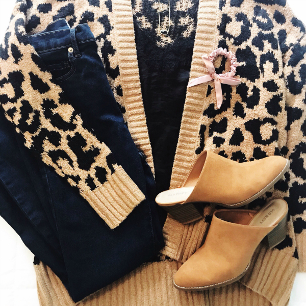 leopard print cardigan, fall fashion, style on a budget, north carolina blogger, look for less, what to buy for fall
