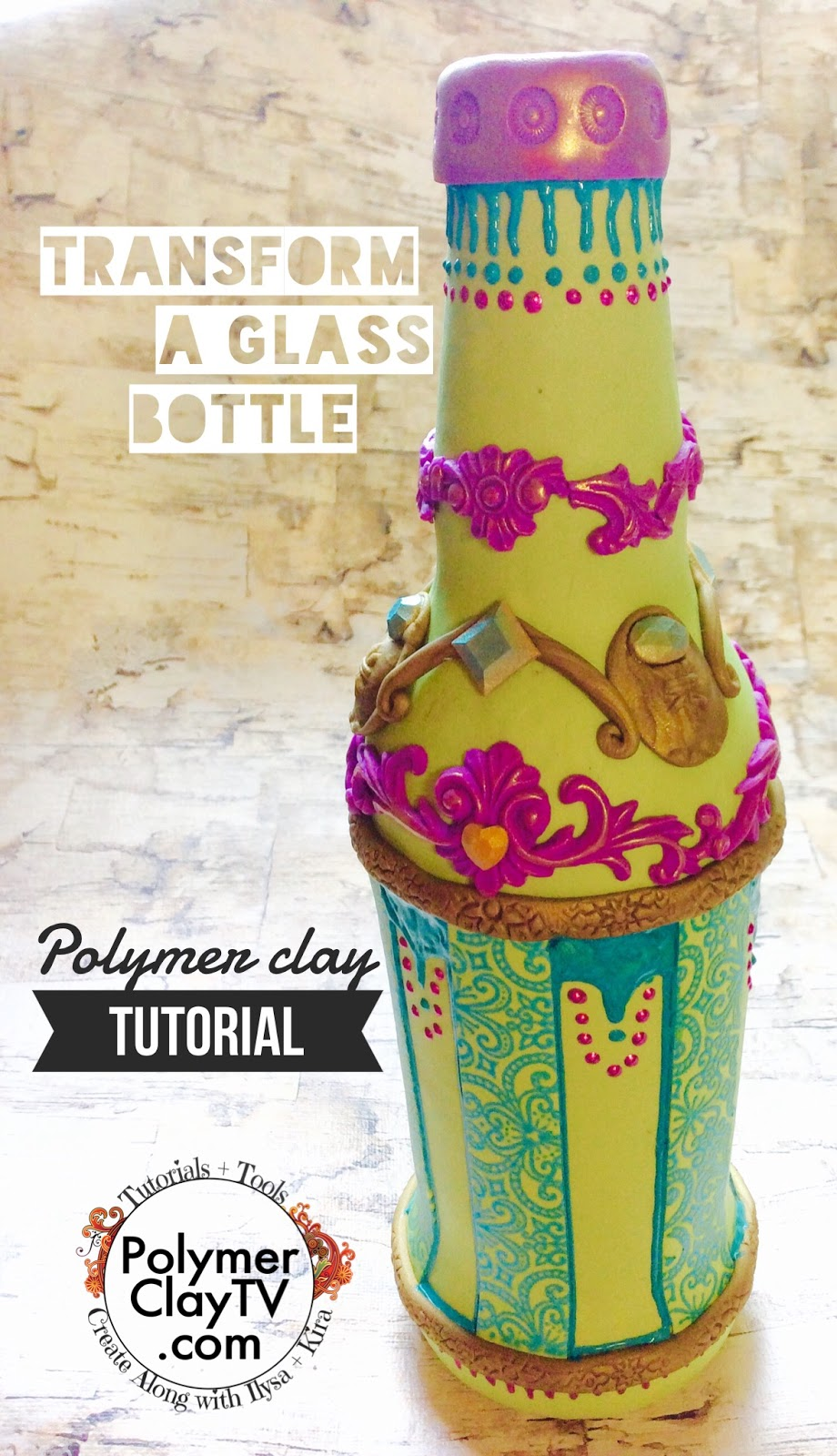 How to cover a glass beer bottle with polymer clay to decorate and ...