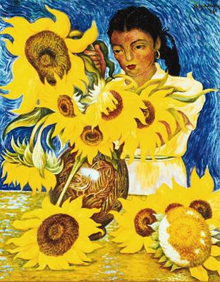 Menina com Girassóis - Diego Rivera e suas principais pinturas ~ Muralismo mexicano