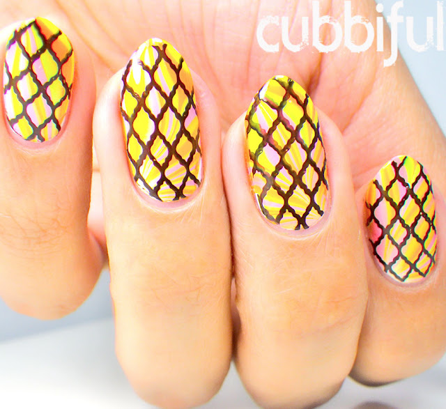 Stamping Summer Watermarble Nails