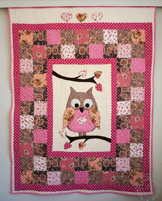 owl quilt, girls patchwork quilt
