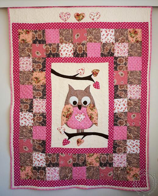 owl quilt, girls patchwork quilt
