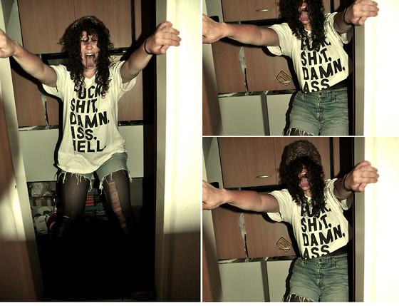 FUCK, SHIT, DAMN, ASS, HELL. T-Shirt  as worn by Slash of Guns N Roses.