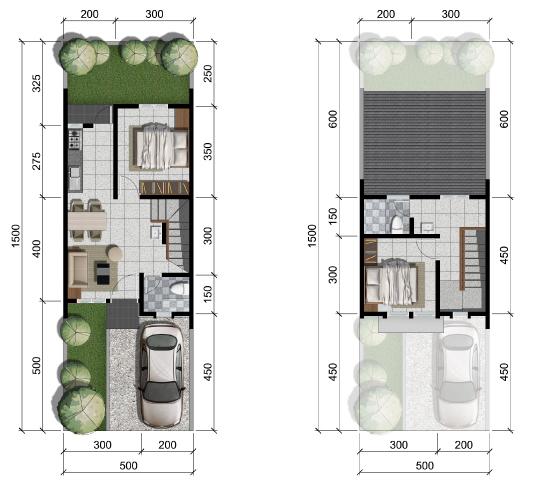 Denah rumah minimalis ukuran 5x15 meter 2 kamar tidur 2 lantai