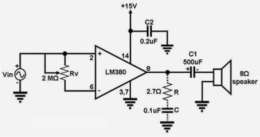 lm380 audio amplifier circuits audio amplifier circuit