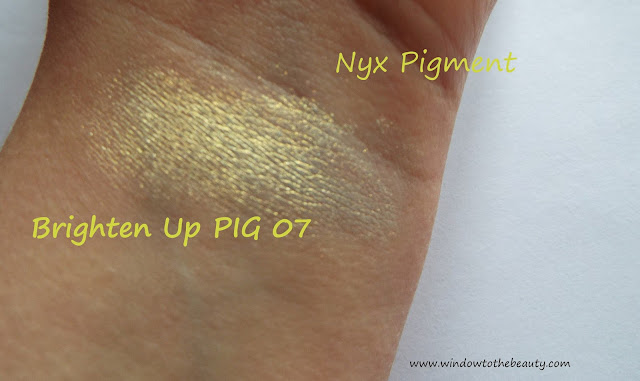 nyx Brighten Up  pigment swatch