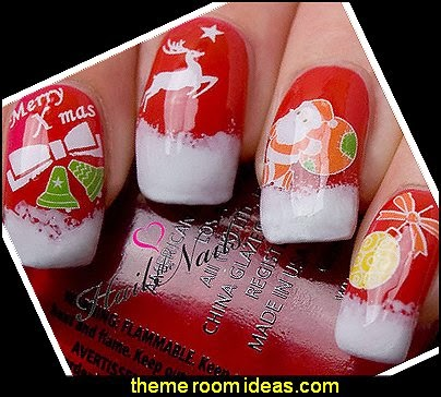 Christmas Nail Art Wraps Water Transfers Decals