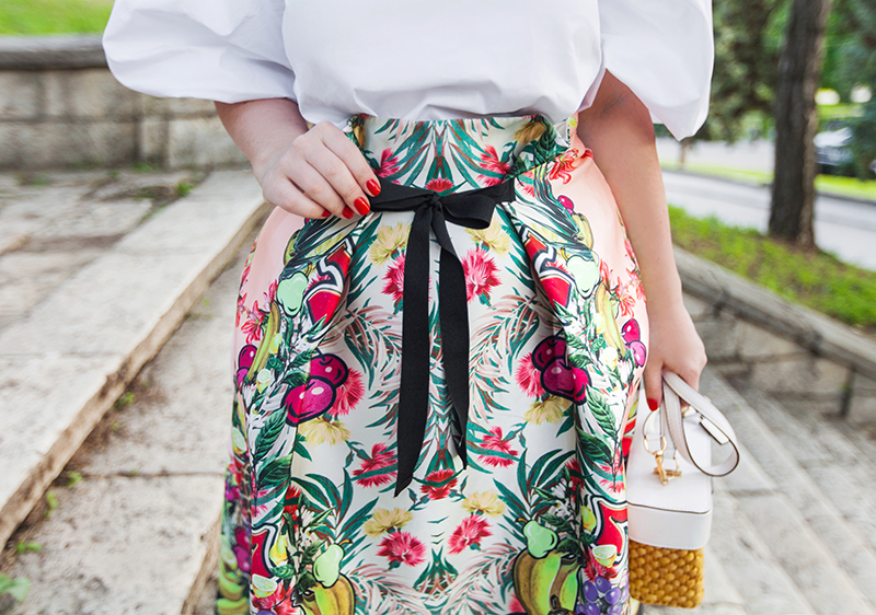 ASOS High Waisted Midi Prom Skirt in Fruit Print