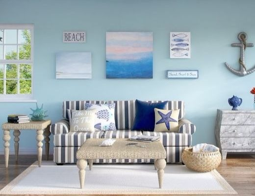 Striped Sofa Ideas for Coastal Style Living