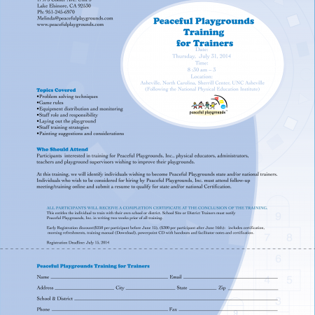 http://www.peacefulplaygrounds.com/product/catalog/peaceful-playgrounds-training-trainers-workshop/