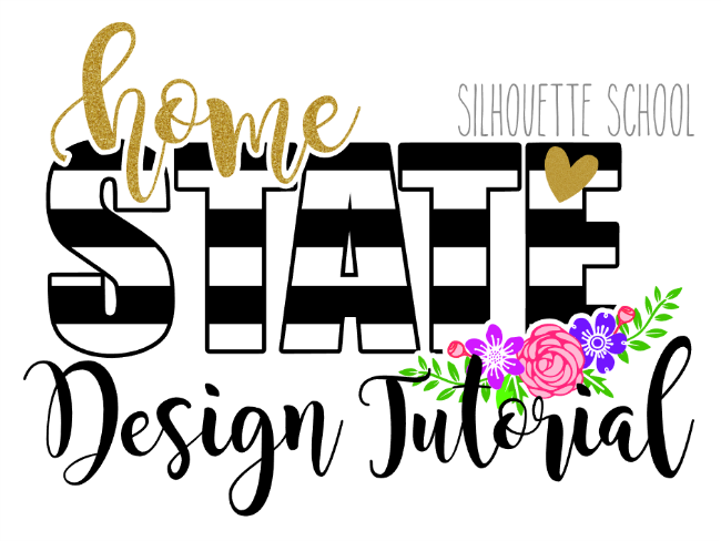 Striped State Design Tutorial silhouette cameo