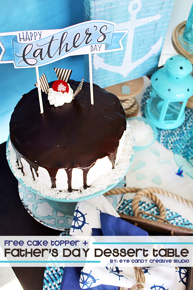 fathers day, cake topper, cold stone, dessert table idea, hand lettering