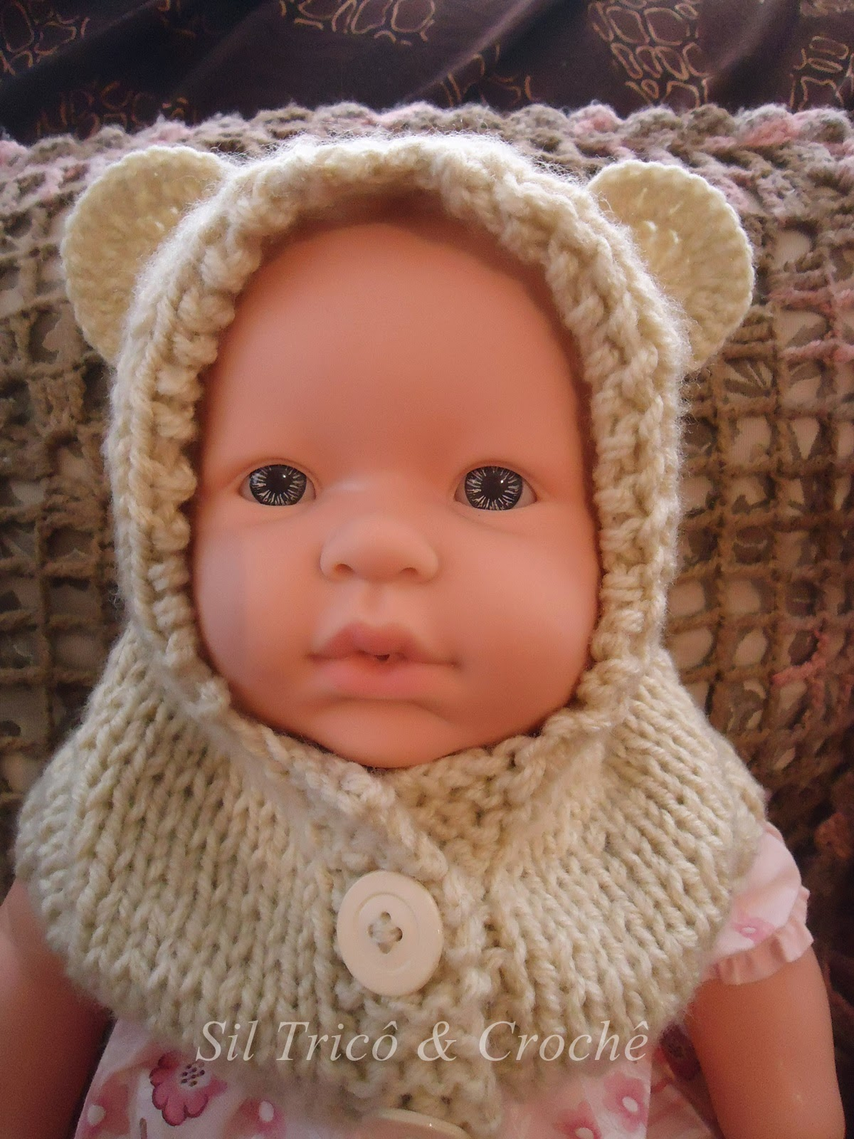 Sil Tricô  Receita   Gola capuz com botões para bebê em tricô 0066b97acb1