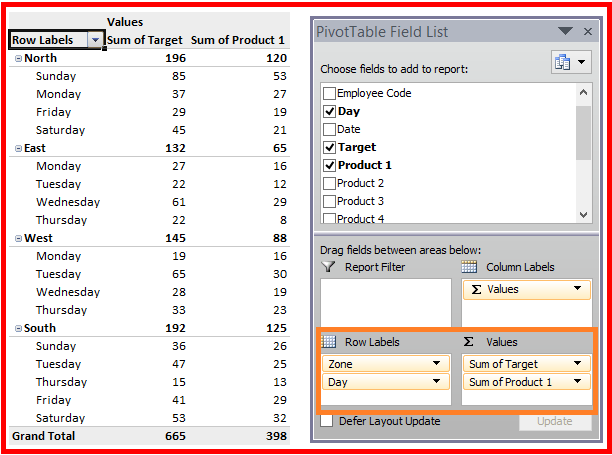Pivot Table In Microsoft Excel Pivot Table Field List