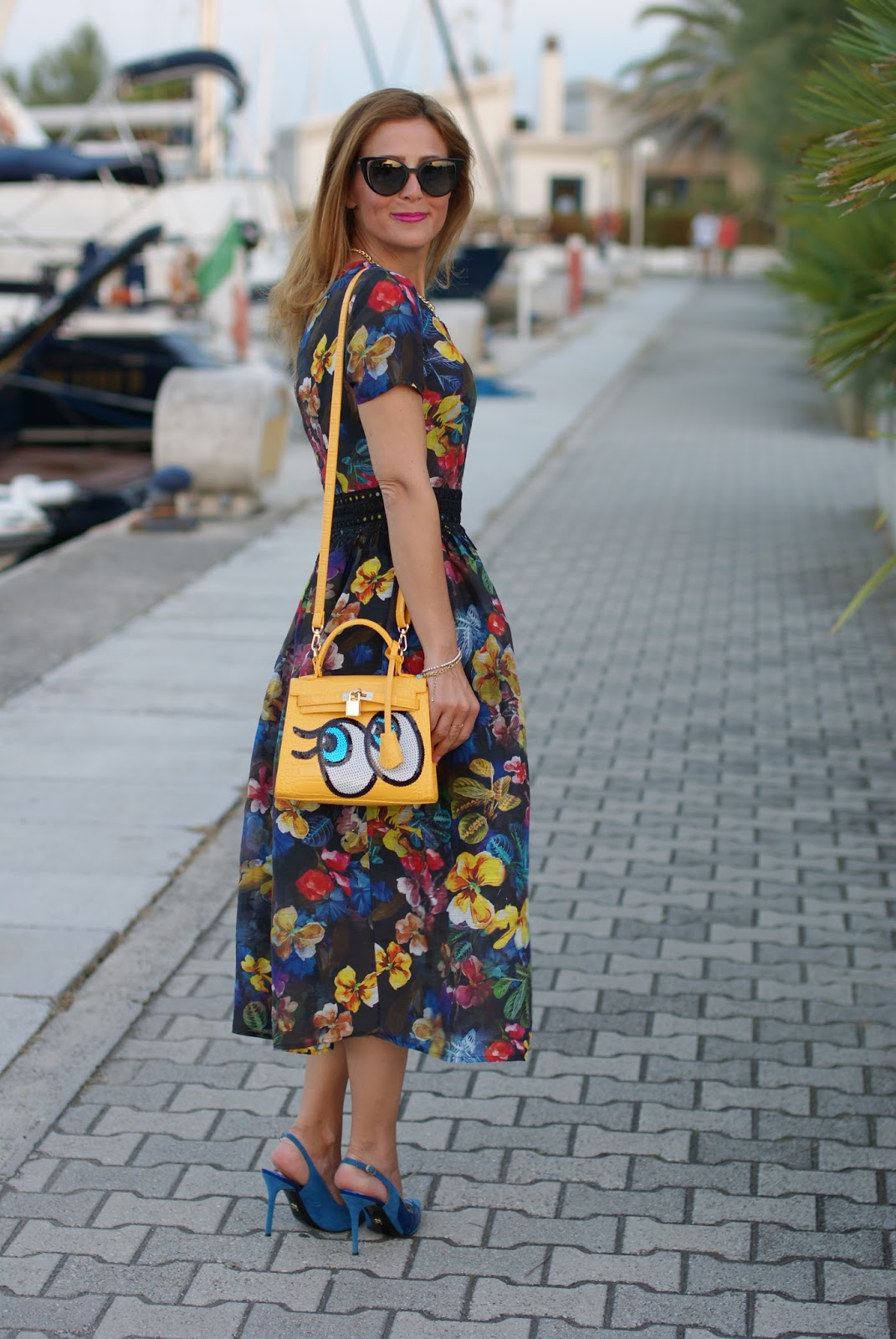 Dezzal floral cocktail midi dress and Playnomore bag on Fashion and Cookies fashion blog, fashion blogger style