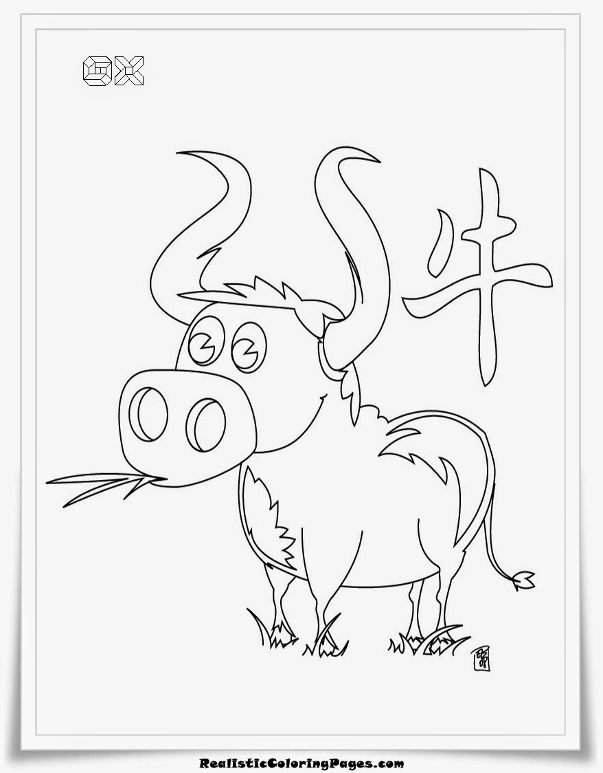 Ox chinese zodiac animal coloring pages