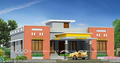3 Bedroom 1346 Square Feet Flat Roof One Floor House Kerala Home Design And Floor Plans 8000 Houses