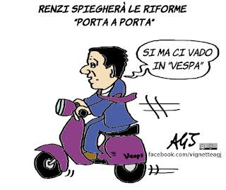 Renzi, Bruno Vespa, riforme, referendum costituzionale, TV, vignetta, satira