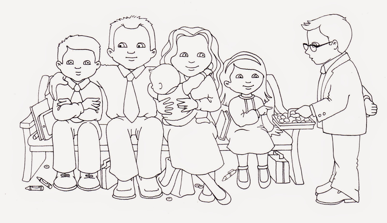 Susan Fitch Design Sacrament Family Illustration Coloring Page