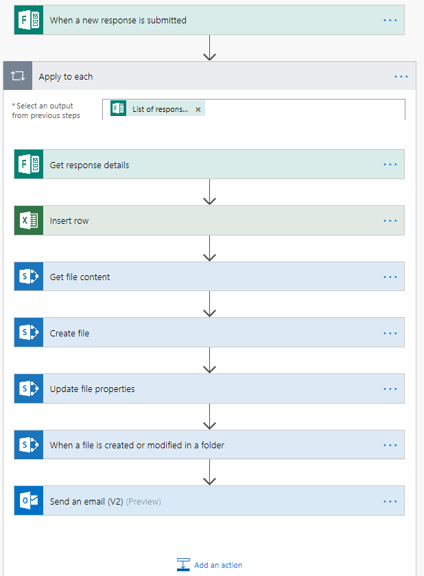 Microsoft Flow - Form, into excel, create word document from