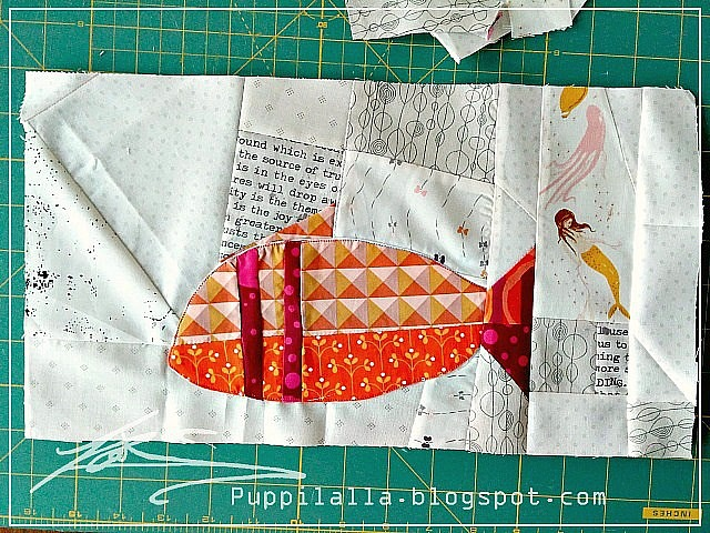 Imrov block, Patchwork, Improvisation quilt, folksy fish, Puppilalla, round robin quilt, quilting