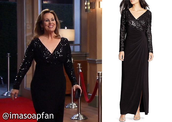 Laura Spencer, Genie Francis, Black Sequined Gown, GH, Nurses Ball, General Hospital