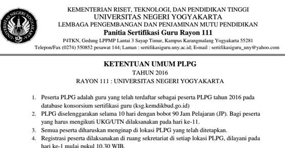 Ketentuan Umum dan Perlengkapan Peserta PLPG Tahun 2016 Rayon 111 Universitas Negeri Yogyakarta