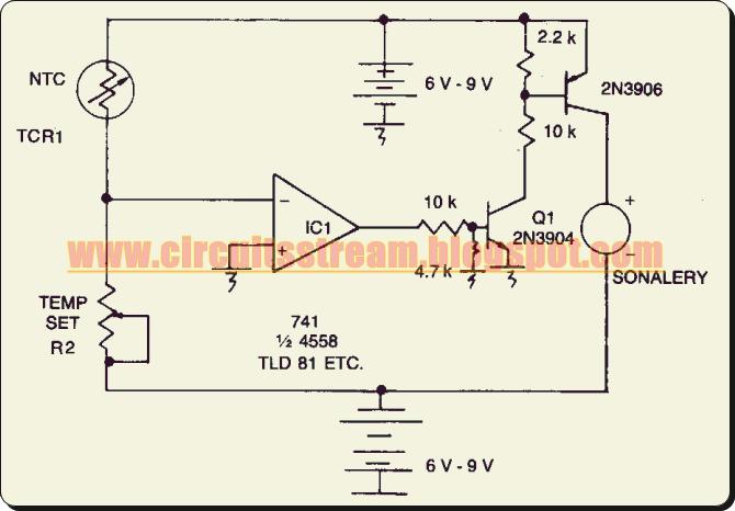 simple adjustable threshold temperature alarm circuit diagram rh circuitsstream blogspot com Simple Schematic Diagram Wiring- Diagram