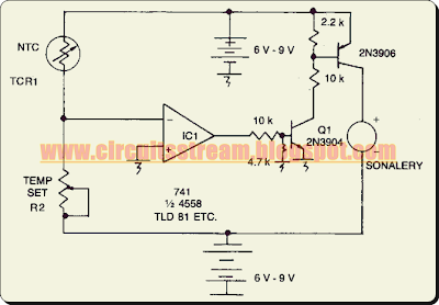 Simple Adjustable Threshold Temperature Alarm Circuit Diagram