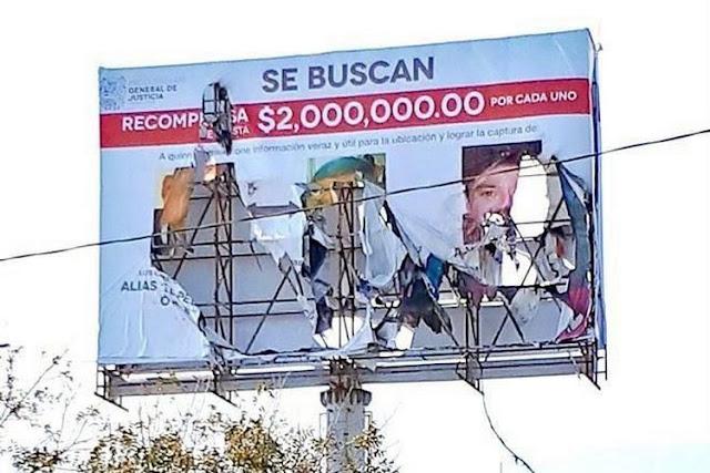 Destrozan anuncios de recompensas por capos  del CDG donde ofrecían 2 millones por sus cabezas