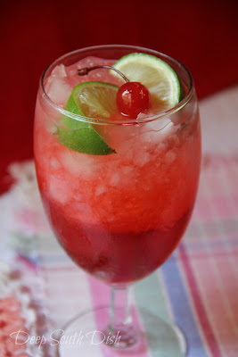 Cherry limeade, made with lemon-lime soda, cherry syrup, a splash of ...